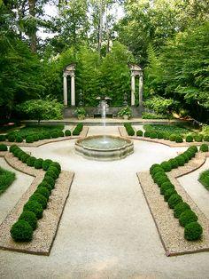 formal garden with fountain...