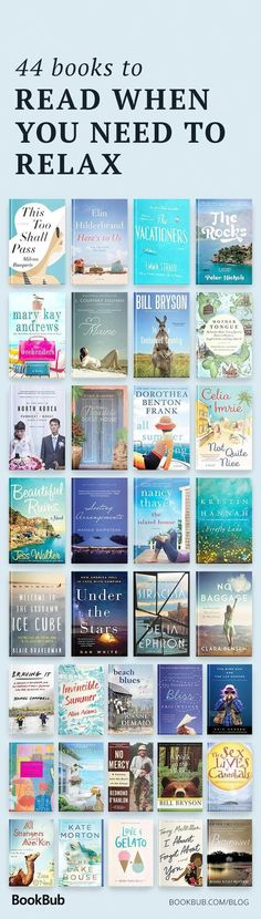 44 books to read when you need to relax. 44 books to read when you need to relax. Best Books To Read, I Love Books, Good Books, My Books, Teen Books, Book Suggestions, Book Recommendations, Reading Lists, Book Lists
