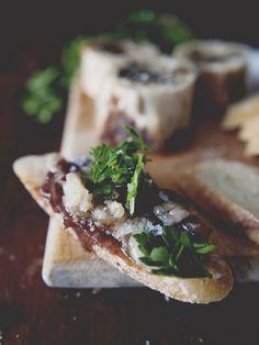 God's butter: roasted bone marrow, chimichurri salad and onion jam