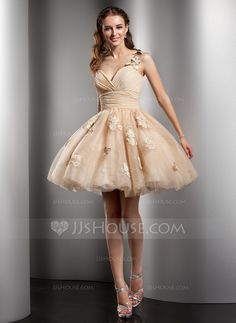 A-Line/Princess One-Shoulder Short/Mini Chiffon Tulle Homecoming Dress With Ruffle Beading Flower(s) (022020672)