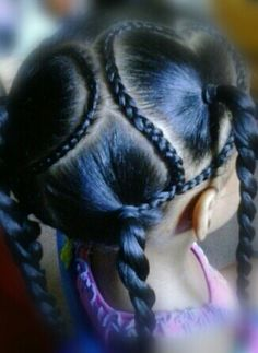 Hearts- little girls hair styles- braids and ponytails