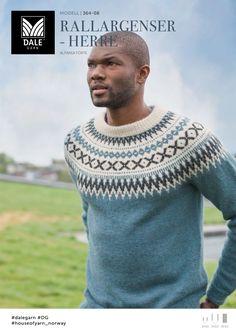 no - Dale-rallargenser-herre-lys-denim Mens Knit Sweater, Sweater Cardigan, Drops Alpaca, Icelandic Sweaters, Knitting Patterns, Knit Crochet, Mens Fashion, Stitch, Denim