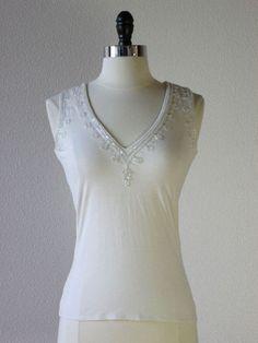 Plenty by Tracy Reese Shopbop cream beaded jersey knit v-neck top S