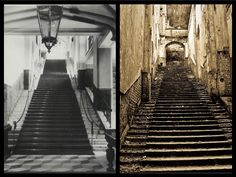 The once majestic staircase in Gwrych Castle before and after - Abergaele, Denbighshire, Wales. Built in 1891.