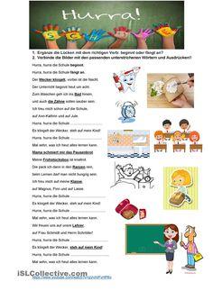 Hurra, hurra, die Schule beginnt German Resources, Comics, Words, School, Teaching Ideas, Printables, Learn German, Amigurumi, German Language