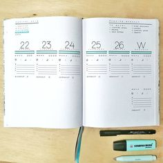 Bullet journal weekly layout, unique daily headers, morning workout log, medication tracker, workout tracker, weather tracker. | @ampersand.by.kiki.b