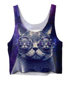 Hipster Cat Crop Top