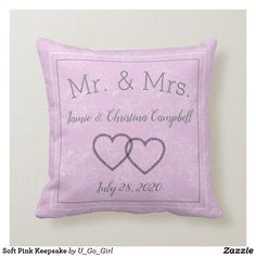 Shop Soft Pink Keepsake Throw Pillow created by U_Go_Girl. Ring Bearer Pillows, Pink Throw Pillows, Newlywed Gifts, Wedding Keepsakes, Ceremony Decorations, Save The Date Cards, Custom Pillows, Knitting, Fabric