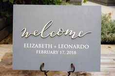 Personalized Unique Welcome Wood Wedding Sign Laser Cut