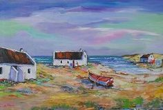 Art Painting by Louis Pretorius includes Fishermans Cottages, this example of Landscape Art has inspired this exceptionally talented artist. View other Paintings by Louis Pretorius in our Online Art Gallery. Cottage Art, Cottage Style, White Cottage, Abstract Landscape, Landscape Paintings, Fishermans Cottage, South African Art, Affordable Art, Online Art Gallery