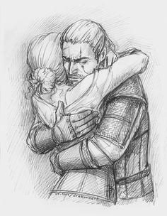 Ciri and Geralt by NastyaSkaya on DeviantArt Ciri and Geralt by NastyaKulakovskaya The Witcher Wild Hunt, The Witcher Game, The Witcher Books, The Witcher Geralt, Witcher Art, Drawing Sketches, Art Drawings, Sketching, Witcher Tattoo