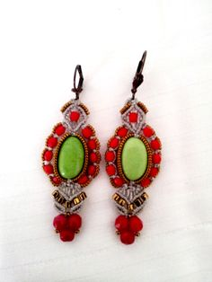 """These are one-of-a-kind bead earrings. These elegant stunning earrings will be perfect gift for you or for someone you love. They are very light .Great for daywear and stunning for the night out.Measurements: Length:2,75inch"""" (7cm) width:0,9 inch""""(2,3 cm).Only high quality material used for:Bohemiam Crystal(mark Presiosa/Jablonex). Japanese pearl(mark Miyuki&Toho) ."""