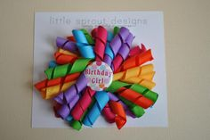 Happy Birthday Korker Ribbon Bow  Rainbow by LittleSproutDesign, $6.00