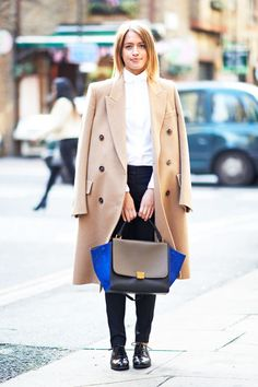 Amp up your neutrals with a single pop of bright color #streetstyle