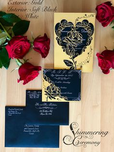 beauty and the beast inspired rose gatefold laser cut invitation with matching laser cut rsvp card suite be our guest - Beauty And The Beast Wedding Invitations