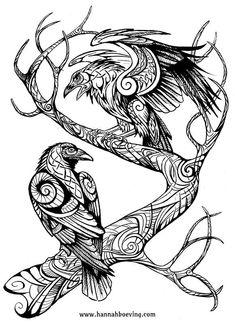 Huginn and Muninn drawing by benu-h on DeviantArt corbeau Norse Tattoo, Celtic Tattoos, Viking Tattoos, Tribal Tattoos, Body Art Tattoos, Tattoo Drawings, Warrior Tattoos, Armor Tattoo, Sleeve Tattoos