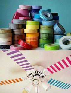 Rainbow fan DIY , cute and very tumblr for teen girl rooms! Pinterest: @yyyanam