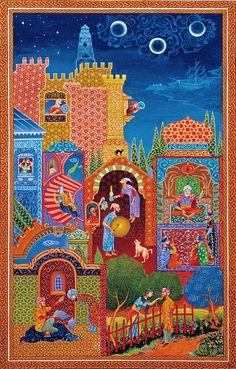 Mughal Miniature Paintings, Jugendstil Design, Turkish Art, Illuminated Letters, Indian Paintings, Tile Art, Types Of Art, Antique Art, Islamic Art