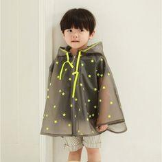 ae05420ec 2014 Fluorescent Yellow Small Stars Gray Background Fashion Children  Raincoats Child Poncho Kids Rain Jacket Baby