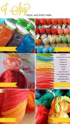 i spy: kool-aid dyed yarn