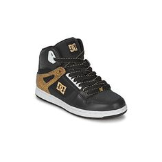 DC Shoes REBOUND HIGH SE Shoes (High-top Trainers) ($110) ❤ liked on Polyvore featuring shoes, sneakers, high top trainers, women, black gold sneakers, gold shoes, black high tops, dc shoes high tops and hi-tops