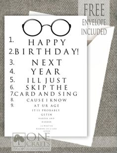 Funny Eye Exam Birthday Card Customized Handmade Greeting