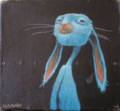 brett superstar art: BLUE RABBIT SUIT CASE sold