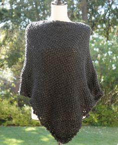 Black Knit Poncho by needleplusyarn on Etsy, $55.00
