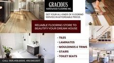 Gracious Hardwood Flooring Inc. offers a large variety of hardwood flooring in Brampton. Tiles, Lamination, Toilet Seat products are available at very competitive rates. PHONE: 416-540-8317, 905-458-8000 EMAIL: GRACIOUSHARDWOOD@YAHOO.COM Cheap Hardwood Floors, Laminate Flooring, The Tile Shop, Flooring Store, Moldings And Trim, Baseboards, Floor Design, Decorating Your Home, Toilet
