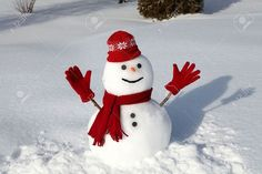 Snowman in red on a cold winter morning. Winter Colors, Winter Fun, Winter Snow, Winter Season, Hello Winter, Snow Fun, Snowman Photos, Snow Sculptures, Red Nose Day