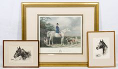 Lot 595: Reinhold H. Palenske (American, 1884-1954) Etchings; Two horse pieces; together with a hunt scene print