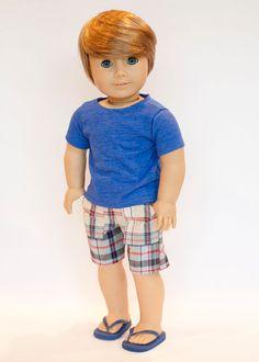 American Boy doll blue T shirt plaid shorts by EverydayDollwear
