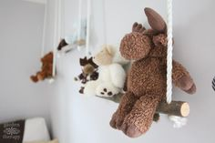 These DIY branch shelves are an easy and stylish way to decorate a nursery or kid's room. You can use them to hang stuffed toys, hats, clothes, books, magazines, or artwork.