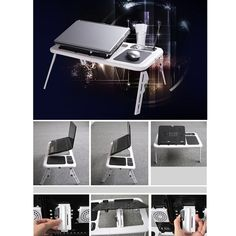 - Raise and lower locking adjustable height - Vented table top and slide out cup holder. - This is a laptop table good for using in bed, on couch, chair, floor and more - Raises and lowers between