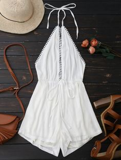 SHARE & Get it FREE | Plunge Halter Drawstring Linen Romper - WhiteFor Fashion Lovers only:80,000+ Items • New Arrivals Daily Join Zaful: Get YOUR $50 NOW!