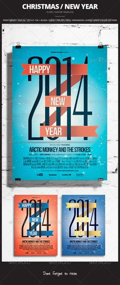 Christmas / New Year Flyer / Poster — Photoshop PSD #party #background • Available here → https://graphicriver.net/item/christmas-new-year-flyer-poster/3528405?ref=pxcr