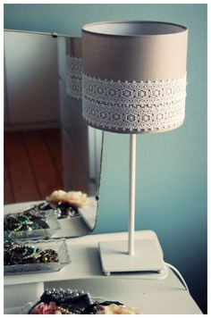 DIY Lace Lampshade - for the microscope lamp - burlap and lace. Need for night stand