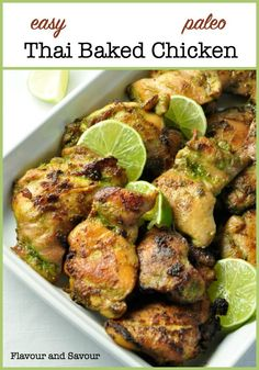 Easy Thai Baked Chicken. An easy make-ahead meal for busy nights, full of your favourite Thai flavours. The marinade for this easy recipe blends and balances those flavours harmoniously. Cilantro, jalapeño, ginger, basil, garlic and coriander all play together to produce this aromatic, slightly spicy chicken dish that leaves you wanting more. #Thai #chicken #thighs #paleo #glutenfree #dairyfree