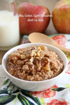 Slow Cooker Apple Cinnamon Steel Cut Oats - Eat. Drink. Love.