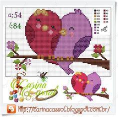 Love birds x-stitch … Cross Stitch Heart, Cross Stitch Cards, Cross Stitch Animals, Cross Stitching, Cross Stitch Embroidery, Hand Embroidery, Cross Stitch Designs, Cross Stitch Patterns, Wedding Cross Stitch