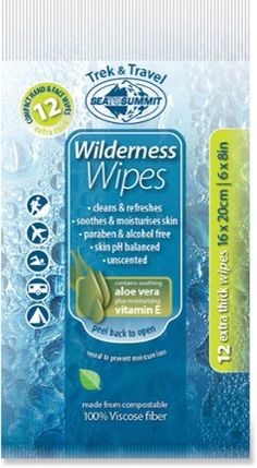 Wilderness Wipes will clean and refresh you when you've worked up a sweat after a long day on the trail and you're miles away from a shower. Available at REI, 100% Satisfaction Guaranteed.