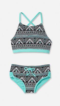 Pinto Print High Neck Bikini Swimsuit