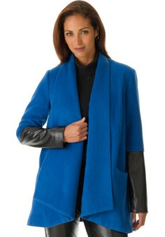 Wool-blend draped coat with luxe leather sleeves, blends soft & sharp, for a new look this fall.  in a  belt to add flairlong set-in leather sleeves for an edgy look &fully linedwool/polyester/leatherdry clean; imported Leather coats for women in size 12, 14, 16, 18, 20, 22, 24, 26, 28 Fit & Fashion Notes:This draped coat with luxe ...