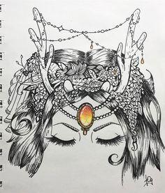 Позавчерашнее вдохновение пришло сегодня, да как пришло! Вписала новый тангл в цветочный венок 🌸 и этот камень сводит меня с ума 😍 @arsenika.zen @centre.77 принимайте работу! ☺ #zen_ars #zen_ars4 #draw #drawing #art #picture #sketch #lineart #gem #horns #eyelashes #hair #flower #girl #deer #chain #cute #pure #romantic #boho #zenart #zentangle #inspiration #style #pretty