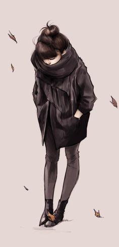 jeune fille automne dessin