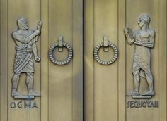 *NABU (in Biblical Hebrew Nebo נבו) is the Assyrian and Babylonian god of wisdom and writing, *TAHMURATH is the Shah of Persia. // Decorated bronze doors by sculptor Lee Lawrie, The John Adams Building of the Library of Congress in Washington. John Adams, Monuments, Native American Heritage Month, Modern Gothic, Biblical Hebrew, Door Detail, Bronze, Library Of Congress, Religious Art