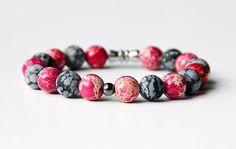 Pink Frost Handcrafted Jasper Beaded Bracelet by UABISABI on Etsy https://www.etsy.com/listing/256304914/pink-frost-handcrafted-jasper-beaded