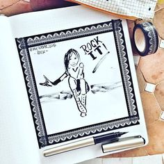 Day 8 #inktober2016 *rock* .  #rock #rockgirl #rockig #inking #drawing #drawingoftheday #drawingchallenge #collect #drawinginspiration #tinte #pentelpocketbrush #brushpen #washitape @inktober