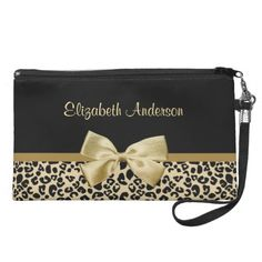 Luxury Black and Gold Leopard Bow With Name