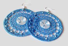 Crochet earrings lace earrings hoop earrings by FarbotyKnoty Lace Earrings, Button Earrings, Crochet Earrings, Hoop Earrings, Plastic Beads, Lace Making, Earring Backs, Crochet Lace, At Least
